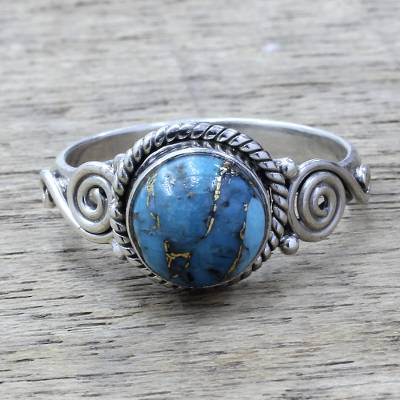 Sterling Silver and Blue Composite Turquoise Cocktail Ring