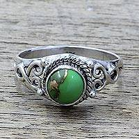 Sterling silver cocktail ring, 'Harmonic Green' - Silver Green Composite Turquoise Cocktail Ring India