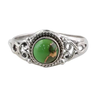 Fair Trade Silver Green Turquoise Cocktail Ring India