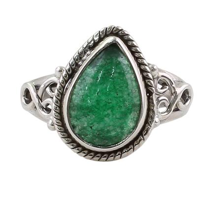 Teardrop Shaped Green Quartz Sterling Silver Cocktail Ring