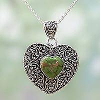 Sterling silver pendant necklace, 'Green Heart Attunement' - Silver and Green Composite Turquoise Pendant Necklace