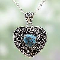 Sterling silver pendant necklace, 'Blue Heart Attunement' - Silver and Composite Turquoise Pendant Necklace from India