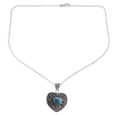 Silver and Composite Turquoise Pendant Necklace from India