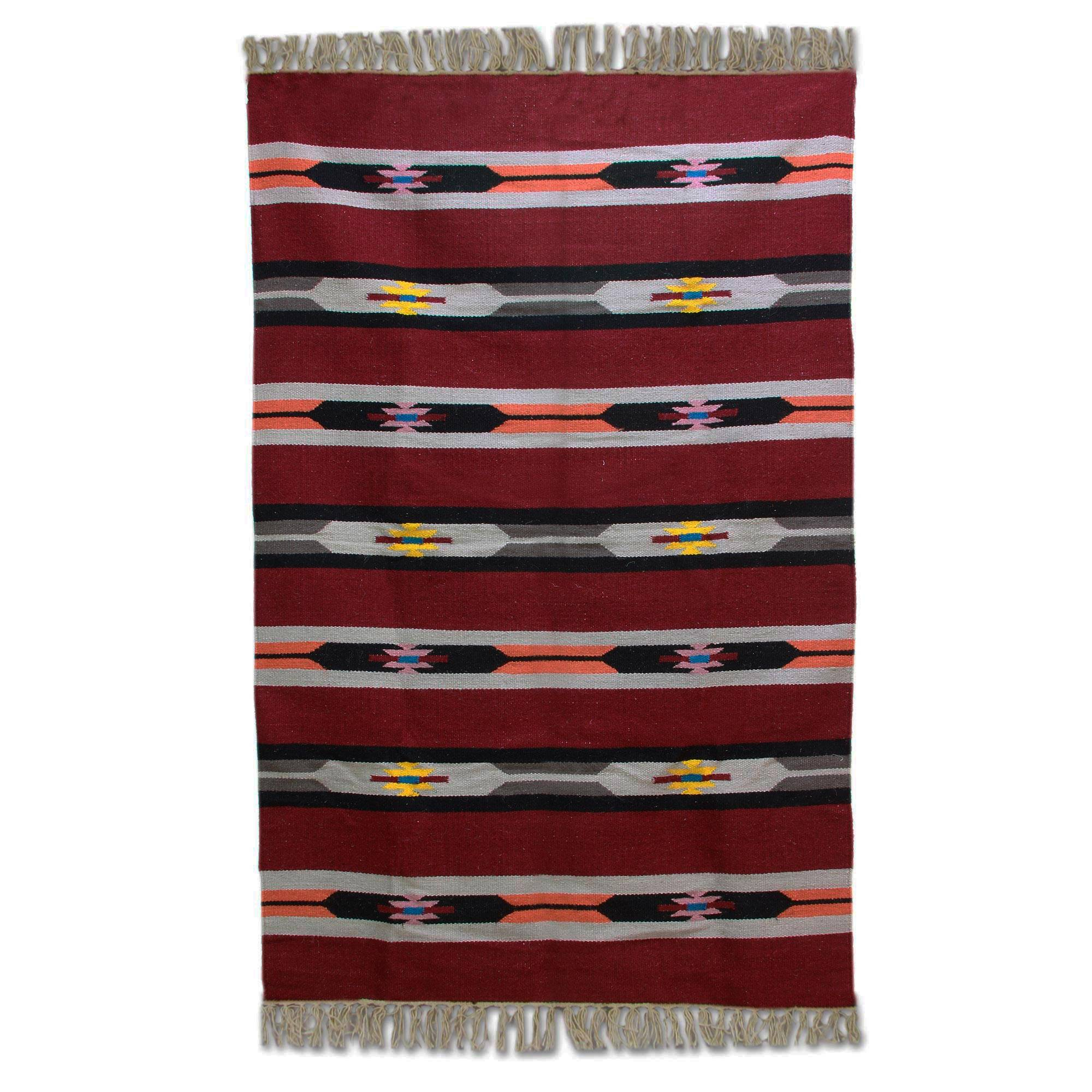 Kiva Store Hand Woven Striped Wool Area Rug In Cherry