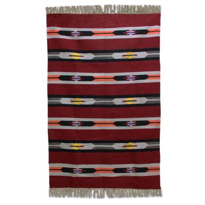 Wool area rug, 'Cherry Delight' (4x6) - Hand Woven Striped Wool Area Rug in Cherry (4x6) from India