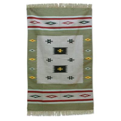 Wool area rug, 'Spring Allure' (4x6) - Hand Woven Geometric Wool Area Rug (4x6) from India