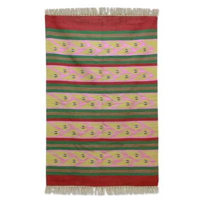 Wool area rug, 'Carnation Buds' (4x6) - Striped Wool Area Rug with Vine Motifs (4x6) from India