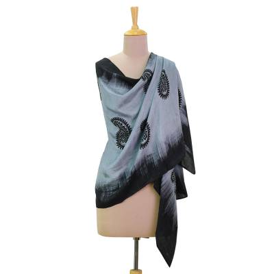Silk shawl, 'Paisley Fascination in Smoke' - Hand Woven Silk Shawl Black Smoke Paisley from India