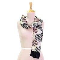 Silk scarf, 'Bengal Waves in Charcoal' - Hand Woven Silk Scarf Pale Beige Wine Charcoal from India