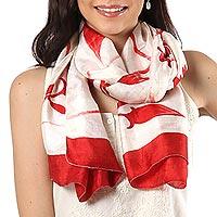 Silk scarf, 'Kolkata Blossoms in Poppy Red' - Hand Woven Silk Scarf Cornsilk Candy Apple Poppy Red India