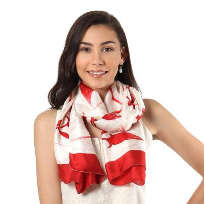 Silk scarf, 'Kolkata Blossoms in Poppy Red' - Hand Woven Silk Scarf Cornsilk Candy Apple Poppy Red India