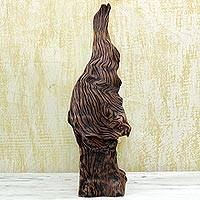 Driftwood sculpture, 'Aging Wood' - Brown Hand Carved Driftwood Sculpture by India Artisan