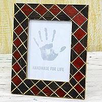 Wood photo frame, 'Red and Black Glamour' (6x8) - Wood Photo Frame Black and Red (6x8) from India