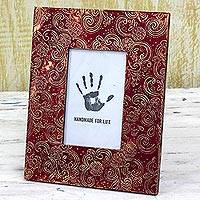 Embossed metal photo frame, 'Spiral Red' (4x6) - Red Aluminum Photo Frame Floral (4x6) from India