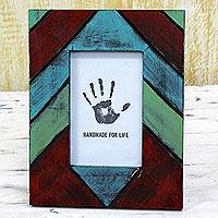 Wood photo frame, 'Geometric Delight' (4x6) - Geometric Wood Photo Frame Multicolored (4x6) from India
