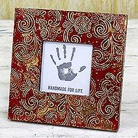 Aluminum repousse photo frame, 'Spiral Red' (3x3) - Red Floral Aluminum Wood Photo Frame (3x3) from India