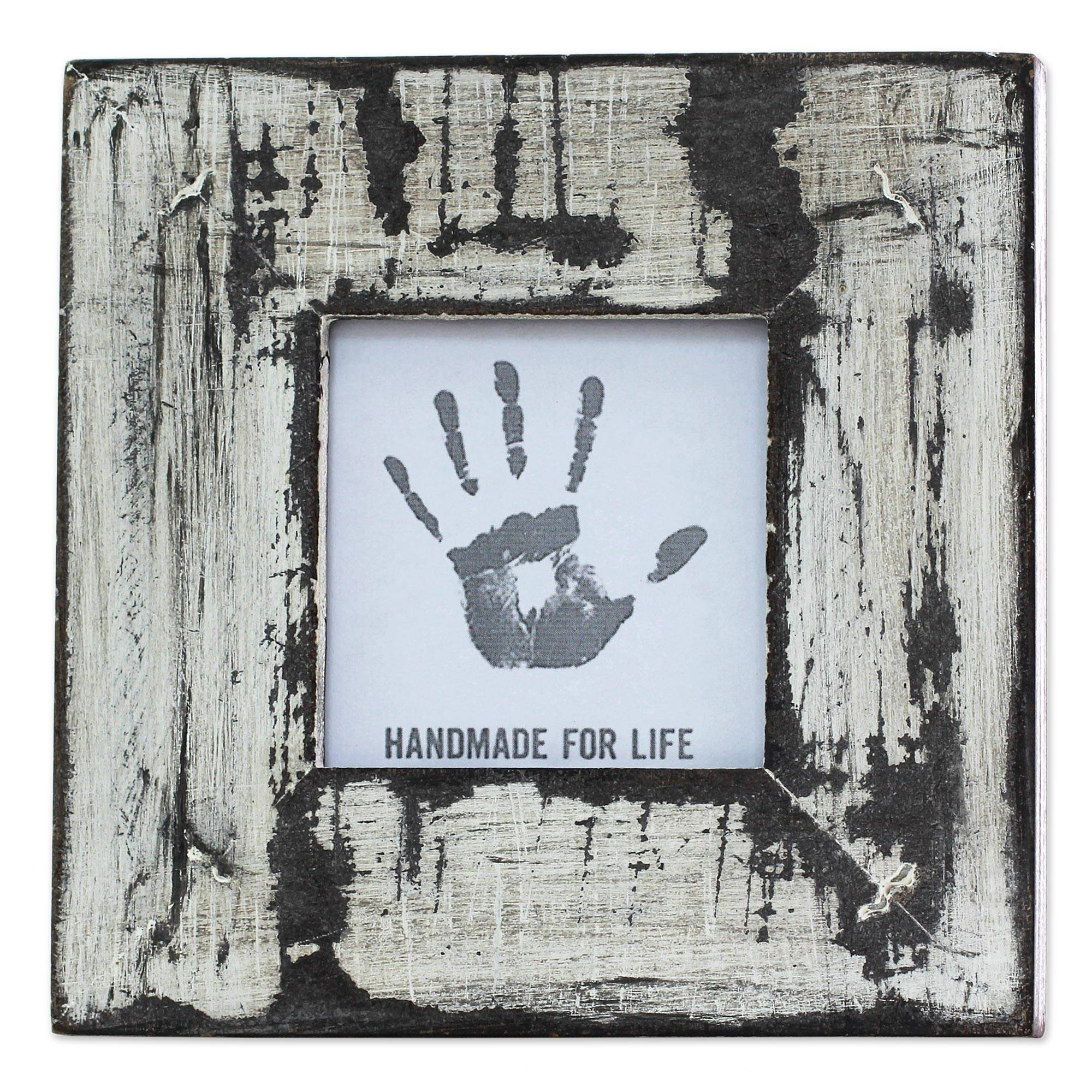 White Distressed Square Photo Frame (3x3) from India, 'Rustic White'