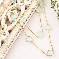 Gold plated chalcedony station necklace, 'Skyward Charm' - Gold Plated Chalcedony Station Necklace from India