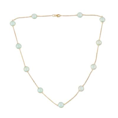 Gold Plated Chalcedony Station Necklace from India