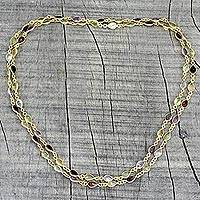 Gold plated multi-gemstone link necklace, 'Gemstone Romance' - Hand Crafted Gold Plated Multigem Link Necklace from India