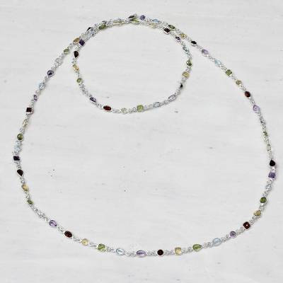 Multi-gemstone long station necklace, Delightful Colors