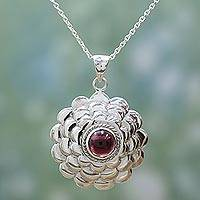 Garnet pendant necklace, 'Cherry Bloom' - Garnet Sterling Silver Floral Pendant Necklace from India
