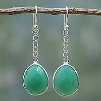 Onyx dangle earrings, 'Protective Green' - Green Onyx Sterling Silver Dangle Earrings from India