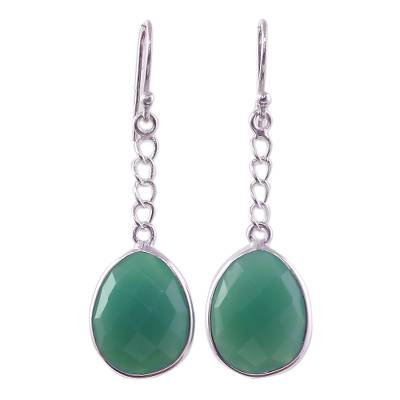 Green Onyx Sterling Silver Dangle Earrings from India