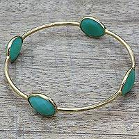 Gold plated onyx bangle bracelet, 'Fruity Drops' - Gold Plated Sterling Silver Onyx Bangle Bracelet from India
