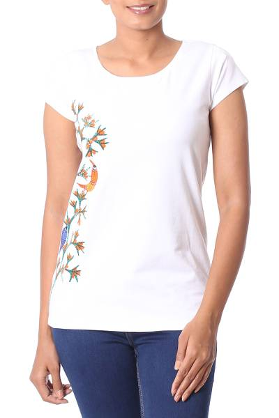 Cotton blend Madhubani t-shirt, 'Tropical Bloom' - White Cotton Blend T-Shirt with Madhubani Painting