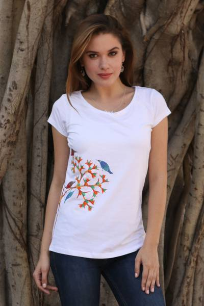 Cotton blend Madhubani t-shirt, 'Chirping Delight' - White Cotton Blend T-Shirt with Madhubani Painting