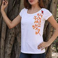 Cotton blend Madhubani t-shirt, 'Autumn Crest' - White Cotton Blend T-Shirt with Madhubani Painting