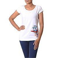 Cotton blend madhubani t-shirt, 'Peacock Brilliance' - Hand Painted Madhubani Cotton Blend T-Shirt from India