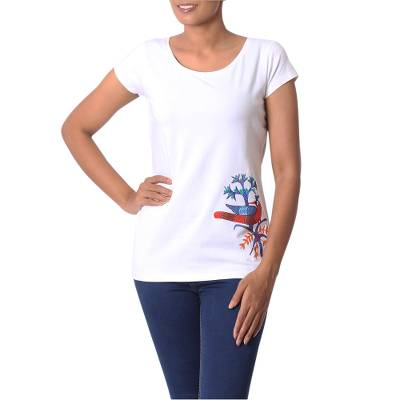 Cotton blend madhubani t-shirt, Peacock Brilliance