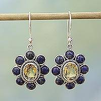 Lapiz lazuli and citrine dangle earrings, 'Sunny Blue' - Citrine Lapis Lazuli Sterling Silver Dangle Earrings
