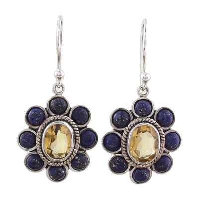 Citrine Lapis Lazuli Sterling Silver Dangle Earrings