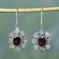 Rainbow moonstone and garnet dangle earrings, 'Pure Radiance' - Rainbow Moonstone Garnet Sterling Silver Dangle Earrings