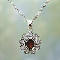Rainbow moonstone and garnet pendant necklace, 'Radiant Flower' - Rainbow Moonstone Garnet Sterling Silver Pendant Necklace