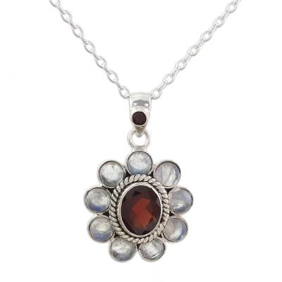 Rainbow Moonstone Garnet Sterling Silver Pendant Necklace