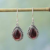Garnet dangle earrings, Radiant Dewdrops