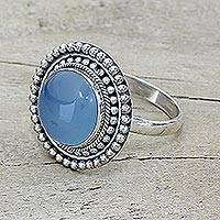 Blue chalcedony cocktail ring, 'Azure Skies' - Round Blue Chalcedony and Sterling Silver Cocktail Ring