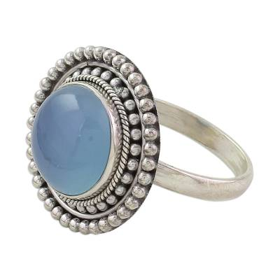 Round Blue Chalcedony and Sterling Silver Cocktail Ring