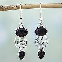 Onyx dangle earrings, 'Romantic Journey' - Hand Made Onyx Sterling Silver Dangle Earrings from India