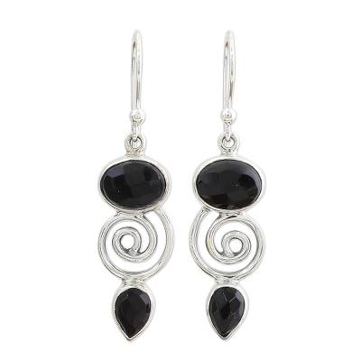 Hand Made Onyx Sterling Silver Dangle Earrings from India