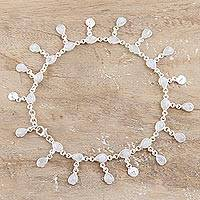 Rainbow moonstone charm anklet, 'Starry Allure' - Hand Made Rainbow Moonstone Charm Anklet from India