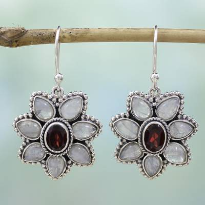 Garnet and rainbow moonstone dangle earrings, 'Camellia Blossoms' - Rainbow Moonstone Garnet Dangle Earrings from India