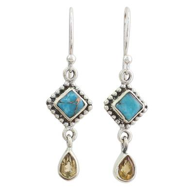 Hand Made Citrine Dangle Earrings from India