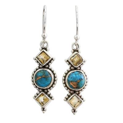 Citrine and Silver Dangle Earrings from India