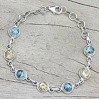 Citrine link bracelet, 'Seashore Radiance' - Citrine and Composite Turquoise Link Bracelet from India