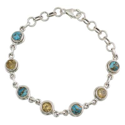 Citrine and Composite Turquoise Link Bracelet from India
